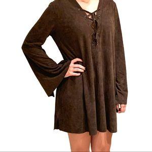 Lush Espresso Vegan Suede Dress: Size M